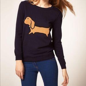 ASOS Daschund Weiner Dog Navy Blue Sweater